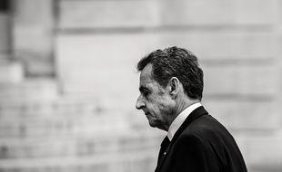 Nicolas Sarkozy se rendant à Saint-Sulpice pour l'hommage à Jacques Chirac, en 2019