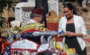 Meghan Markle avec les bijoux de la marque marseillaise Gas, lors d'une visite à Rabat