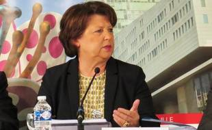 Martine Aubry, lors de sa conférence de presse de mi-mandat, le 29 septembre 23017, à Lille.