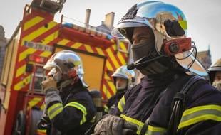 Strasbourg le 11 fevrier 2015. Illustration sapeurs pompiers du Bas-Rhin