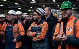 Les travailleurs de l'aciérie Ascoval de Saint-Saulve, près de Valenciennes, dans le nord de la France,  le 19 décembre 2018 dans l'usine.