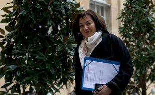 La ministre de la Fonction publique Annick Girardin, à son arrivée à l'Hôtel Matignon à Paris le 18 février 2016