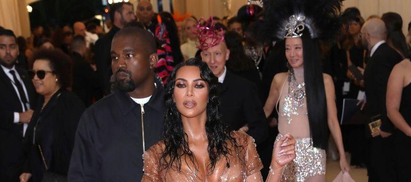 Le rappeur Kanye West et son épouse, la femme d'affaires Kim Kardashian au Met Gala 2019