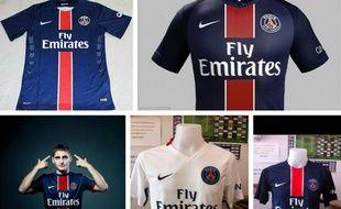 Capture d'écran des possibles nouveaux maillots du PSG pour la saison 2015-2016.