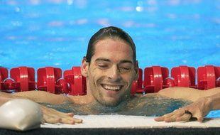 Le nageur français Camille Lacourt, lors de sa victoire aux championnats du monde de Barcelone, sur 50m dos, le 4 août 2013.
