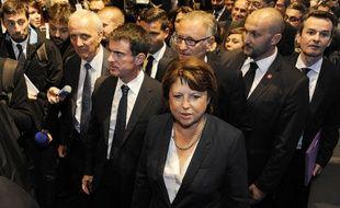 La maire de Lille Martine Aubry et le Premier ministre Manuel Valls le 9 octobre 2014 à Lille.