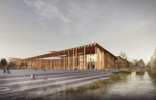 Sur le parvis du futur parc des expositions de Strasbourg.