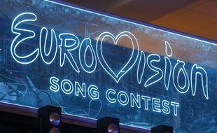 Le logo de l'Eurovision projeté sur un écran lors de la sélection nationale ukrainienne, en février 2020.