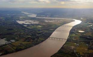 Vue aérienne du 25 janvier 2009 au-dessus de la Gironde près de Bordeaux, dans le sud ouest de la France