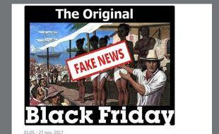 Ce mème reprend une intox sur l'origine du Black Friday.