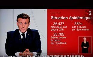 Emmanuel Macron lors de son allocution, mercredi 28 octobre 2020.