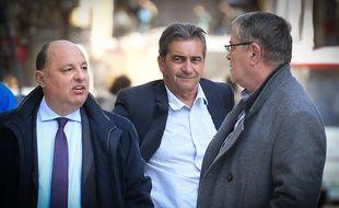 Christophe Naudin avec Bruno Odos et Pascal Fauret, devant la cour d'assises d'Aix-en-Provence, le 19 mars 2019.