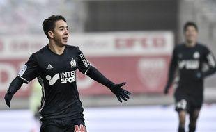 Maxime Lopez fête un but contre Dijon le 10 décembre 2016.