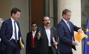 Philippe Martinez (CGT) avec le Président du Medef Geoffroy Roux de Bezieux à l'Elysée.