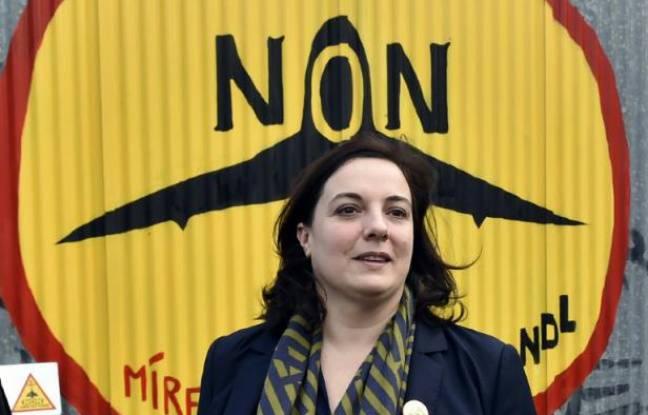 Emmanuelle Cosse, alors secrétaire nationale d'EELV dans la ZAD de Notre-Dames-des-Landes, en Loire-Atlantique, le 4 novembre 2015