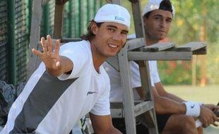Le tennisman espagnol Rafael Nadal, lors d'un entraînement à Manacor, le 20 juillet 2009.