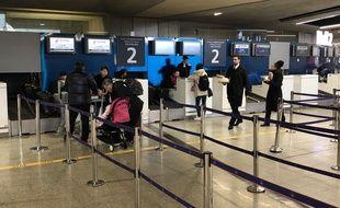 Le comptoir de la compagnie Air China, ce jeudi 23 janvier 2020.