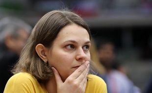 La championne d'échecs  Anna Muzychuk le 30 décembre 2016 au... Qatar