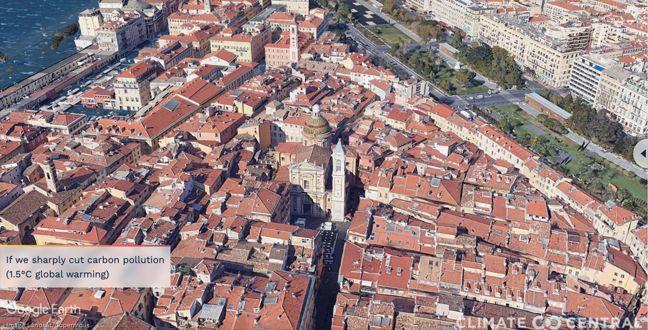 La montée des eaux dans la ville de Nice si le réchauffement climatique reste à 1,5°C