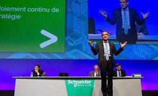 Jean-Pascal Tricoire, PDG de Schneider Electric pendant l'assemblée générale des actionnaires du groupe le 3 mai 2012 à La Défense.