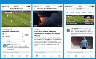 Des exemples de la nouvelle curation d'actualité lancée par Twitter le 13 juin 2018.