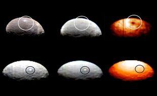 Sur les images infrarouges, le point brillant «Spot 1» (ligne du dessus) laisse une tache sombre tandis que «Spot 5» est invisible.
