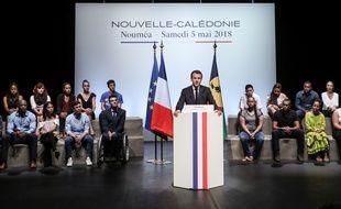 Emmanuel Macron à Nouméa en Nouvelle-Calédonie le 5 mai 2018.