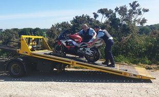 Le conducteur d'une moto a été intercepté à 190 km/h le 21 mai 2020 dans le Finistère.