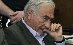 Dominique Strauss-Kahn lors de son audition au tribunal de Manhattan où sa demande de libération sous caution a été acceptée, le 19 mai 2011, à New York.