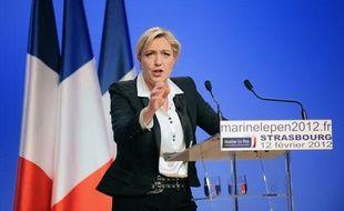 Meeting de Marine Lepen, candidate à la présidentielle 2012. AStrasbourg, le 12 février.