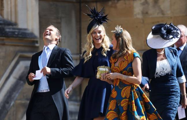 Chelsy Davy (C) arrives for the wedding ceremony of Britain's Prince Harry, Duke of Sussex and US actress Meghan Markle at St George's Chapel, Windsor Castle, in Windsor, on May 19, 2018. / AFP PHOTO / POOL / Chris Jackson