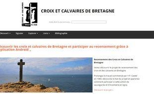 Capture d'écran du site recensant les croix et calvaires de Bretagne.