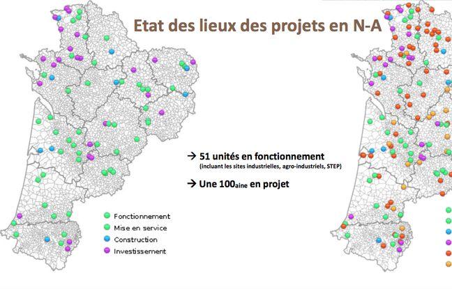 Carte des unités de méthanisation en Nouvelle-Aquitaine