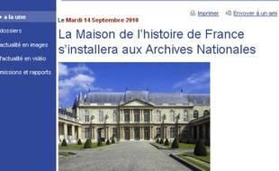 Capture d'écran du site du ministère de la Culture, avec le crédit rétabli