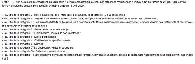 Capture d'écran du décret paru lundi 16 mars au Journal officiel relatif aux interdictions d'ouverture de certains établissements.