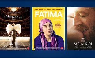 Les affiches des films «Marguerite», «Fatima» et «Mon roi», nommés aux César 2016.