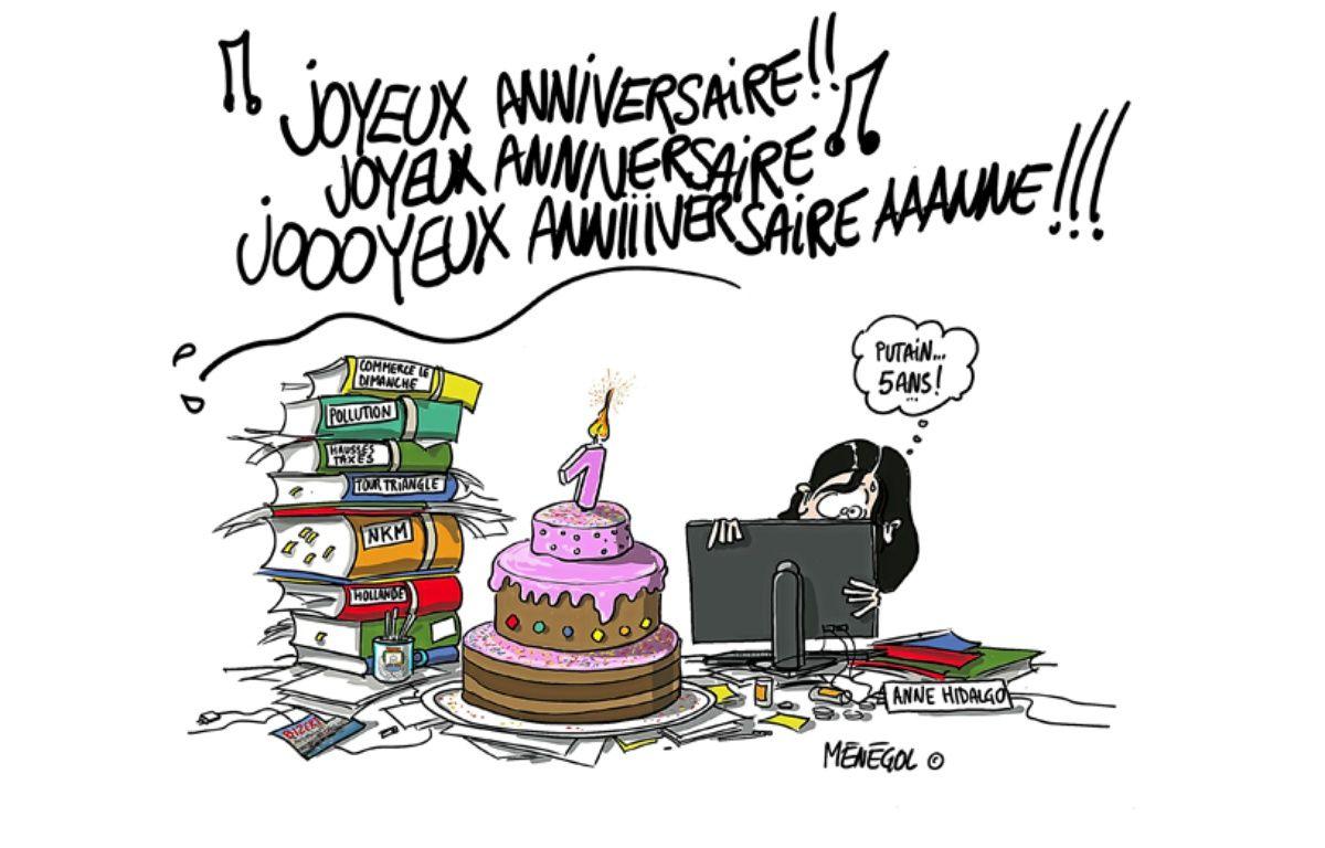 Pour le premier anniversaire d'Anne Hidalgo à la mairie de Paris, sa principale rivale, Nathalie Koscuisko-Morizet (UMP) a décidé de la tourner en dérision à travers cinq caricatures... – Ménégol
