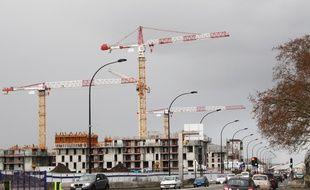 Le 18 janvier 2015, travaux de construction au quartier des Bassins à Flot