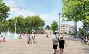 Un fontaine (à gauche) et un long banc (à droite) vont être créés sur la place de la Comédie, à Montpellier