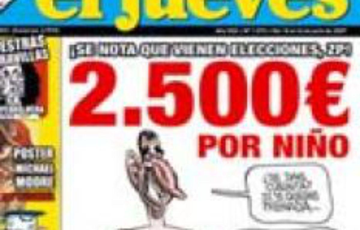 Un juge espagnol a ordonné vendredi 20 juillet 2007 la saisie de l'hebdomadaire satirique «El Jueves», coupable d'avoir publié cette caricature du prince héritier Felipe et de son épouse. – DR