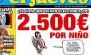 Un juge espagnol a ordonné vendredi 20 juillet 2007 la saisie de l'hebdomadaire satirique «El Jueves», coupable d'avoir publié cette caricature du prince héritier Felipe et de son épouse.