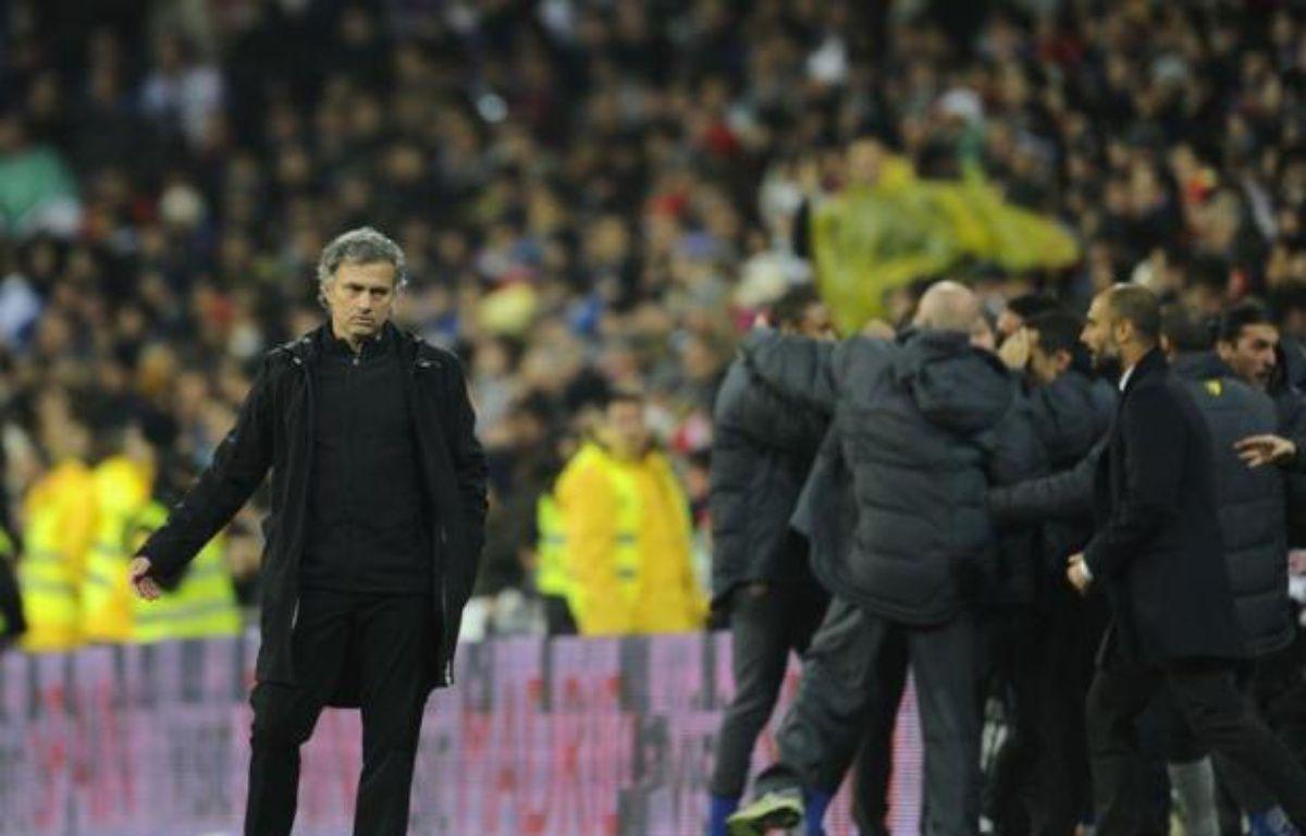 """L'entraîneur du Real Madrid José Mourinho a estimé après la défaite (3-1) samedi soir, de son équipe contre le FC Barcelone pour le premier clasico de la saison que """"cette victoire du Barça était en partie due à la chance"""". – Pierre-Philippe Marcou afp.com"""