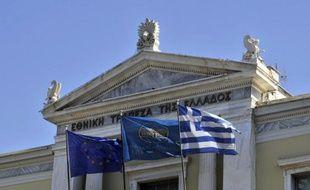 Le fronton du siège de la Banque nationale de Grèce à Athènes