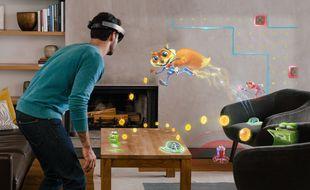 Extrait du jeu « Young Conkers » réalisé par Asobo Studio pour le programme HoloLens de Microsoft