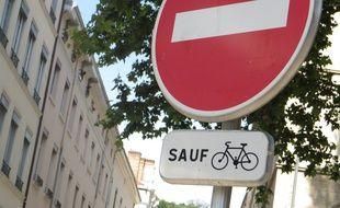 Lyon, le 27 juin 2017 Les double-sens cyclables se déploient à Lyon. C. Girardon / 20 Minutes