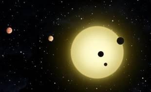 Vue d'artiste du système solaire orbitant autour de l'étoile Kepler-11, située à 2.000 années-lumière, qui contient six planètes.