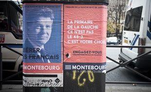 Des affiches d'Arnaud Montebourg pour la primaire du PS, le 19 décembre 2016, à Paris.