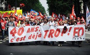 La manifestation de Force ouvrière le 15 juin 2010 à Paris contre la réforme des retraites.