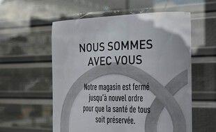 Un magasin fermé à Rennes pendant le premier confinement. (archives)