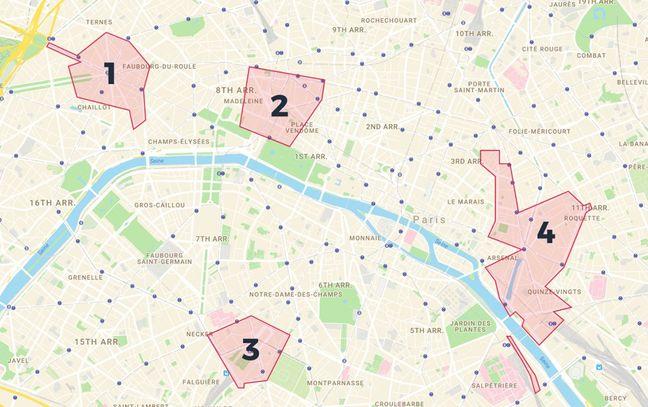 Plan de quelques zones couvertes par le dispositif.
